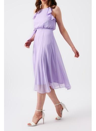 Random Kadın Omuzları Fırfırlı ince Askılı Midi Elbise Lila
